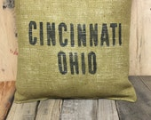 Cincinnati burlap pillow