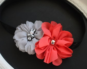 EASTER Grey Silver Chiffon with Bunny in Striped Black Dress Resin Center and Coral Flower with Gold Bead on Black Elastic Headband