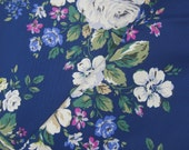 """Cath Kidston. Cotton Canvas Bag Making Fabric. 1/2m Hampstead Rose on Navy. Heavy Canvas. 145cm wide. (19 x 57""""). 420glm"""