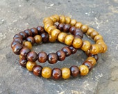 HANDMADE set of 3 MENS Guys BRACELET brown tan Wood Wooden Natural Bead Beaded Stack Stackable manly Stretch Wrist Band Jewelry supply gift