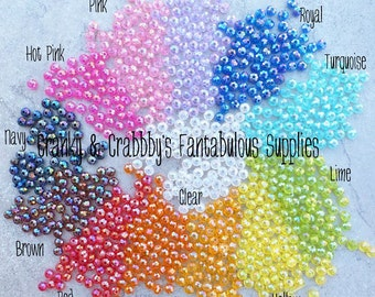 AB Rondelle Spacer Acrylic Beads  - 8mm x 6mm -  Chunky Necklaces - 1 ounce  - 13 colors -