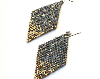 Seed Bead Earrings, Blue Gold Dust Diamond Shaped Dangle