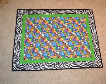 Child's Jungle Quilt with Zebra Trim