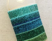 Blue Jade Sparkle - Set of 5 Elastic Hair Ties