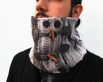 Neckwarmer, Men's Neckwarmer, Crochet Neckwarmer Crochet Cowl Scarf Chunky Crochet Scarf, Knit Neckwarmer Scarf with toggles. Grey-gray