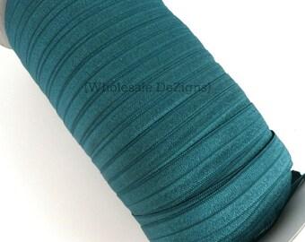 "Hunter Green FOE - Fold Over Elastic - 5/8"" Foe Headbands - Hair Ties - Shiny Satin Elastic"