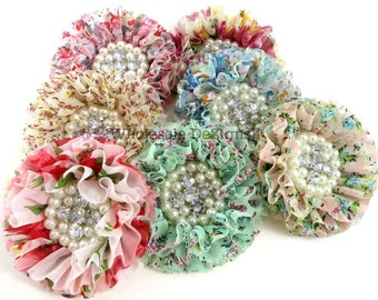 """Floral Chiffon Flowers with Pearl and Rhinestone Center - 3"""" Rose Floral Print"""