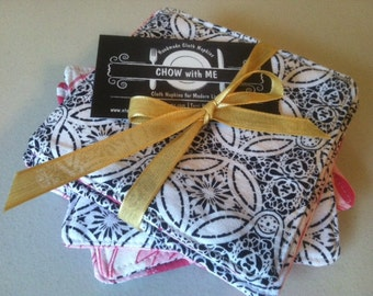 Navy Blue, White and Pink, Reversible Fabric Cloth Coasters, Mug Rug, Set of 4, by CHOW with ME