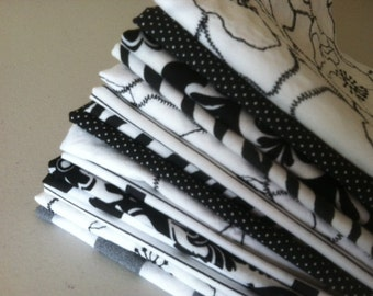 Lunch Box Napkins, Set of 12, Shades of Black and White, by CHOW with ME
