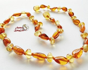 Amber Teething Necklace - Baltic Amber Teething Jewelry - Cognac and Honey Amber Beads - Screw or Safety clasp, Choose Your Length, K-3