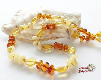 Baltic Amber Teething Necklace - Polished Multicolor Amber Beads - Boy-Girl-Jewelry -  Screw or Safety clasp - Choose Your Length, K-2