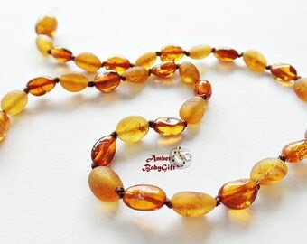 Bean Mix Baltic Amber Teething Necklace - Raw and Polish Cognac Amber Beads - Screw or Safety clasp - Choose Your Length, K-28