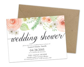 Wedding Shower Invitation Vintage Floral Blush