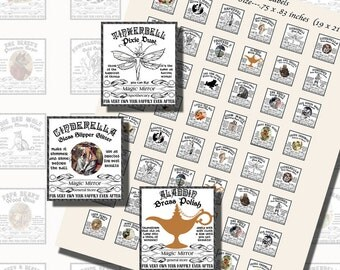 Fantasy Potion Labels -- Fairy Tale Characters, SCRABBLE TILE SIZE (.75 x .83 Inches or 19 x 21 mm), 24 Illustrations Included