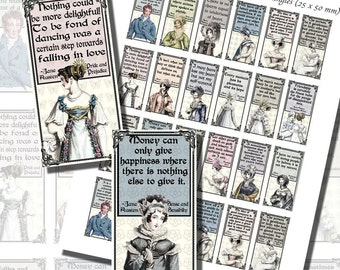 Jane Austen's Quotes and Regency Fashions Printables, DOMINO SIZE (1x2 Inches, 25x50mm) AND Mini Domino Size (9/16 x 1 3/16 inches, 14x30mm)