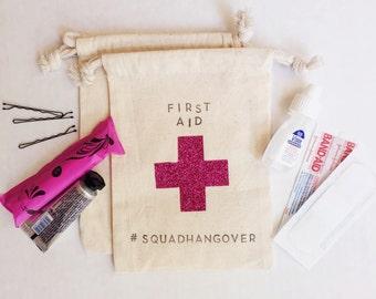 Glitter Hangover Kit Bag- w/Custom top & bottom- 5x7 Hangover Bag kit-Bachelorette Party Favor- Hangover Kit Bags-DIY Bag-Wedding Hangover