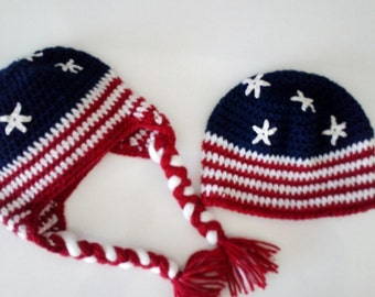 Crochet Flag Beanie - Stars and Stripes Fitted Beanie