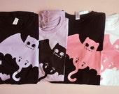 Pastel bat cat silhouette print ladies fitted pastel goth T-shirt