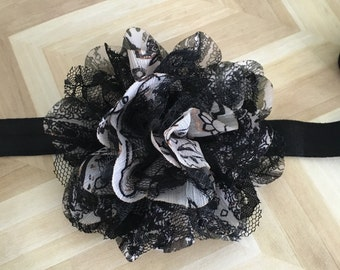 Black and White Lace Flower headband or clip