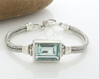 Rectangle Lite Azure Swarovski Element Silver Bracelet , Swarovski Bracelet
