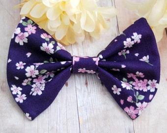 Dark Purple Sakura Bow // Floral, Japan, Cherry Blossom, Kawaii