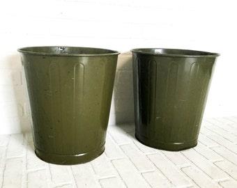 Pair of United Vintage Metal Trash Cans Waste Baskets Paper Receptacles Olive Drab Green