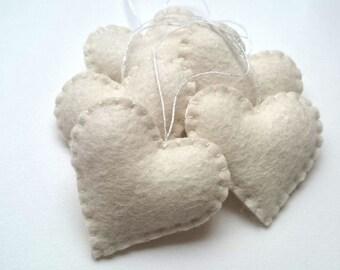 White heart ornaments - set of 5 felt wedding favor decoration home decor for Valentine's day Birthday Christmas Housewarming nursery