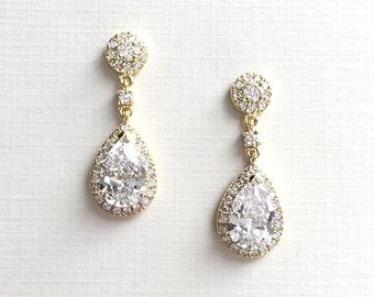 Gold CZ Bridal Earrings, CZ Wedding Earrings, Gold Bridal Jewelry, Gold Jewelry, Gold Bridal Earrings, Gold Wedding Earrings ~JE-4073-G