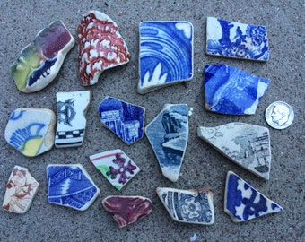 ENGLISH SEAGLASS - Group of  different Sized Beach Found Craft Grade Patterned Pottery Shards