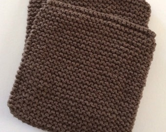 Hand Knit Cotton Pot Holders - Set of 2 - Brown