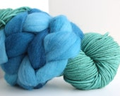Thrummed SLIPPER SOCK kit - Teal/Blue - Hand dyed Merino yarn and roving Pattern included