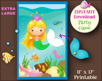 Pin the Tail on the Mermaid, Printable Mermaid Game, Instant Download Mermaid Party, Pool Party Games, Cute Mermaid Party, Undersea Party