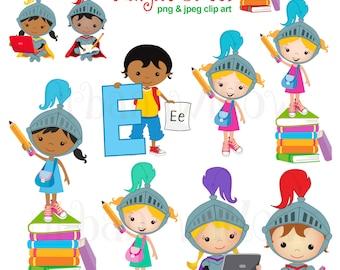 Cute school Clip art. Night school. Knight and horse Clip art. Pencil clip art. Book clip art. Kids with laptops Clip art. School graphics.