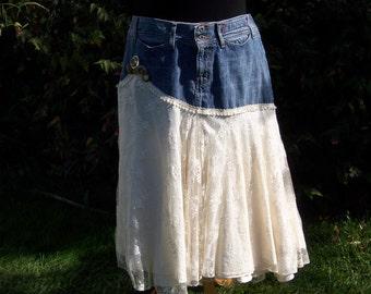 Jean and Lace Skirt, Upcycled Guess Jean Skirt, Handmade OOAK Skirt, Cottage Chic Skirt, Western Skirt, Long Skirt Boho Lace Skirt Festival