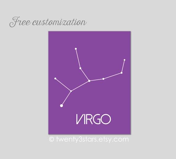 colors mod wall art star map in custom colors virgo zodiac