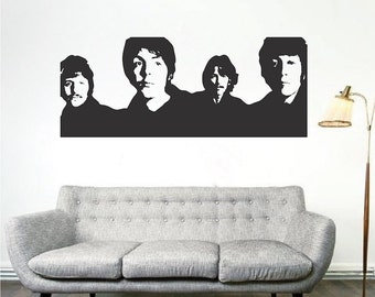 The Beatles Wall Decal, The Beatles Music Wall Vinyl Sticker, Bands Wall Design Vinyl, Famous Band Wall Decor, Music Wall Decal Art, a87