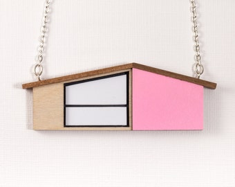 Palm Springs House Necklace | MidCentury Modern | Pink Necklace | Wooden Jewelry | Laser cut Jewelry