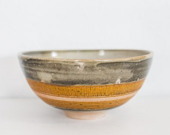 Smokey Orange Carved Serving Bowl