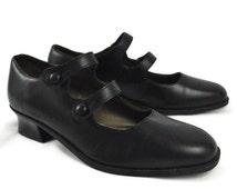 Vintage 90's Esprit double strap black mary janes