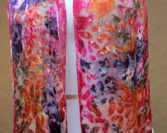 Silk scarf handpainted, Hudson Valley artisan, textured multicolor accessory red pink orange multi color, handmade NY designer