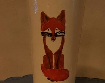Soy Candle in large tumbler hand painted with a Fox