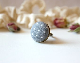 Grey Polka Dot Ring, Grey Fabric Ring, Fabric Button Ring, Retro Simple Ring, Antique Bronze Ring, Grey White Ring, Grey Button Ring