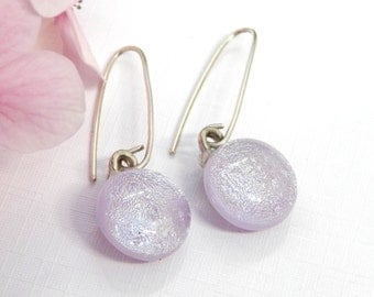 Soft Pale Mauve Dichroic Glass Long Drop Earrings - Fused Glass Jewelry - Lilac Art Glass Dangle Earrings on 925 Sterling silver Earwires