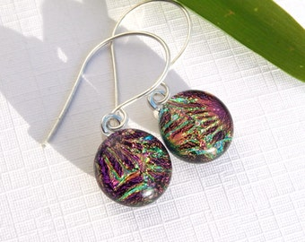 Sparkly Explosion Dichroic Glass Drop Earrings - Fused Glass Jewelry - Round Pink Glass Dangle Earrings on Sterling Silver Wires