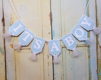 It's A Boy Banner, Embossed White and Baby Blue Banner with Tulle, Boy Baby Shower Decoration, Baby Boy Shower Banner, Nursery Banner