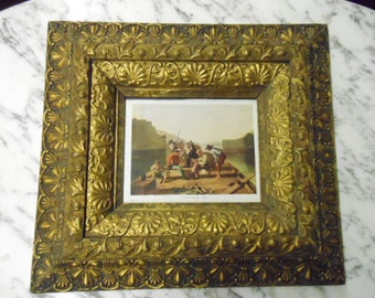 Antique Victorian Ornate Picture Frame Wood With Detailed Gilding Beautiful Wall Art Hanging Glass with Book Plate