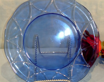 Newport or Hairpin by Hazel Atlas Cobalt Blue Depression Glass Dinner Plate 9 inch