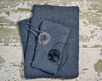 DISCOUNTED BUNDLE includes Charcoal Gray Knit Posing Blanket, Knit Wrap and 2 Headbands for Newborn Photo Shoot, Newborn Prop Set