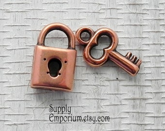 Antique Copper Lock and Key Charm - 17mm Copper Key Charm - 15mm Copper Lock Charm - 1926 / 1927 / 1968