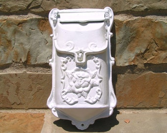 WHITE Cast Iron Reproduction Victorian style mailbox